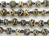 Black w/Yellow Designs Glass Beads 12mm (JV1278)