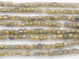 Tan w/Yellow & Blue Stripes Glass Beads 5mm (JV1282)