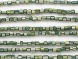 Green w/White & Yellow Stripes Glass Beads 5mm (JV1283)