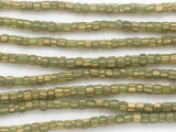 Green w/Yellow Stripes Glass Beads 5mm (JV1285)
