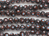 Brown, Red & Blue Millefiori Round Glass Beads 11mm (JV1287)