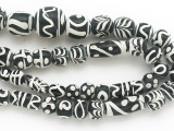 Assorted Black & White Glass Beads 8-19mm (JV1302)