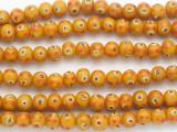 Orange w/Red & Yellow 'Eye' Glass Beads 10mm (JV1303)