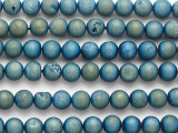 Teal Blue Electroplated Druzy Agate Round Gemstone Beads 8-9mm (GS4809)