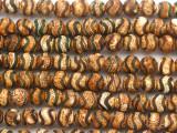 Matte Green & Tan Tibetan Agate Round Gemstone Beads 8mm (GS4816)