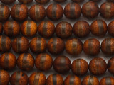 Rust Brown Tibetan Agate Round Gemstone Beads 12mm (GS4817)