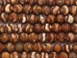Matte Brown Crackle Tibetan Agate Round Gemstone Beads 10mm (GS4821)