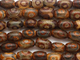 Brown & Clear Tibetan Agate Barrel Gemstone Beads 14mm (GS4828)