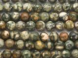 Rainforest Jasper (Rhyolite) Round Gemstone Beads 8mm (GS4839)