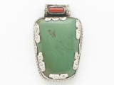 Turquoise, Coral & Sterling Silver Tibetan Pendant 40mm (TB596)