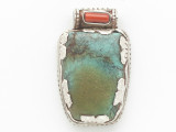 Turquoise, Coral & Sterling Silver Tibetan Pendant 37mm (TB597)