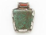 Turquoise, Coral & Sterling Silver Tibetan Pendant 34mm (TB598)