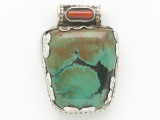 Turquoise, Coral & Sterling Silver Tibetan Pendant 31mm (TB599)