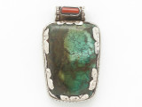 Turquoise, Coral & Sterling Silver Tibetan Pendant 42mm (TB605)