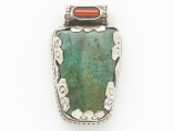 Turquoise, Coral & Sterling Silver Tibetan Pendant 35mm (TB606)