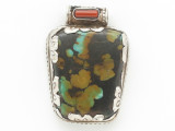 Turquoise, Coral & Sterling Silver Tibetan Pendant 37mm (TB607)