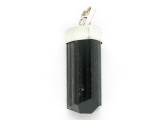 Sterling Silver & Black Tourmaline Pendant 30mm (GSP2440)