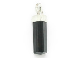 Sterling Silver & Black Tourmaline Pendant 29mm (GSP2443)