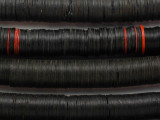 Old Black Vinyl Record Disc Beads 14mm (VY234)