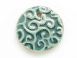Teal Round Glazed Ceramic Pendant 37mm (AP2092)