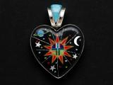 Sterling Silver & Turquoise Cosmic Heart Southwestern Pendant 44mm (AP2052)