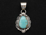 Sterling Silver & Turquoise Southwestern Pendant 28mm (AP2058)