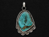 Sterling Silver & Turquoise Southwestern Pendant 42mm (AP2059)