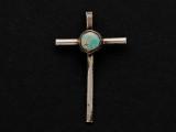 Sterling Silver & Turquoise Cross Southwestern Pendant 40mm (AP2064)