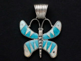 Sterling Silver & Turquoise Butterfly Southwestern Pendant 42mm (AP2065)