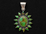 Sterling Silver & Turquoise Southwestern Pendant 33mm (AP2069)
