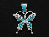 Sterling Silver & Turquoise Butterfly Southwestern Pendant 31mm (AP2076)