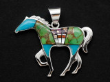 Sterling Silver & Turquoise Horse Southwestern Pendant 46mm (AP2083)