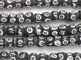 Black & White Rondelle Afghan Glass Beads 8-10mm (AF1871)