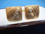 14k Solid Yellow Gold and Genuine Diamonds Designer Cuff Links