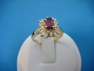 """14K GOLD RED TOURMALINE AND """"BALLERINA"""" DIAMONDS LADIES HIGH END RING"""