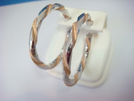 ! SPECIAL TWISTED HOOP EARRINGS SILVER WITH ROSE GOLD TONE MADE IN ITALY