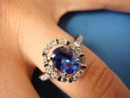 "14k White Gold Genuine Tanzanite and ""Halo"" Diamonds Designer Ring"