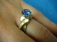 1.11 CT Genuine Tanzanite and Diamonds 2 Tone Gold Ladies Ring