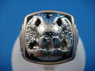 Heavy Solid Back Gold Vintage Masonic Men's Ring