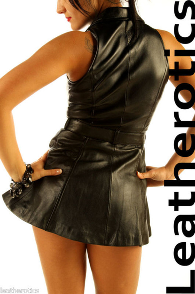 Sexy Black Leather Sleeveless Mini Dress Top MD78 image 2