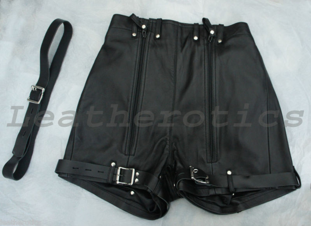 Mens Natural Leather Binder Shorts Knickers Spiky Tight Bondage