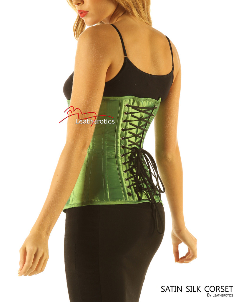 Green Satin Under Bust Steel Boned Hipster Corset image 2