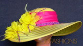 Gorgeous Pink on Yellow with Wide Asymmetrical Brim and Floral Cluster