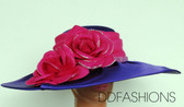 Large Wavy Brim ladies hat with Large Contrasting Floral Bow and Matching Band