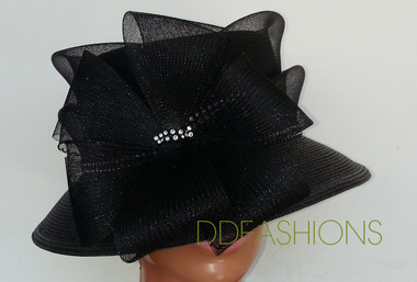 Black narrow brim ladies hat with rhinestone studs