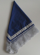 Blue and Silver ladies handkerchief with enclosed with laces