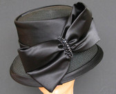 Tall Crowned Cloche Ladies Hat - Angular Large Bow