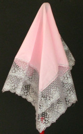 Pink Handkerchief With Large White Laces