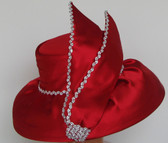 Elegant Handmade Ladies Red Ornamental, Low Brimmed Hat with Vertical Bow