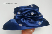 Blue Hat with Large Floral Bow